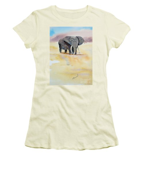 Women's T-Shirt (Junior Cut) featuring the painting Great African Elephant  by Vicki  Housel