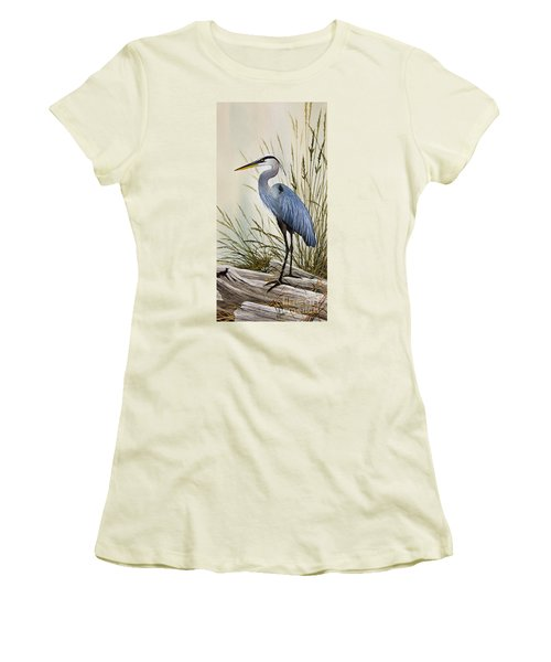 Great Blue Heron Shore Women's T-Shirt (Junior Cut) by James Williamson