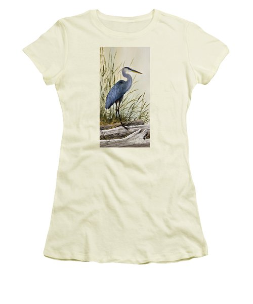 Great Blue Heron Splendor Women's T-Shirt (Junior Cut) by James Williamson