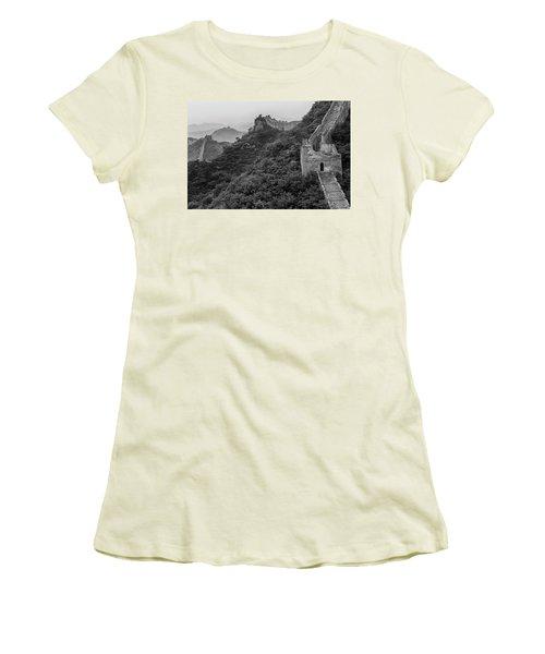 Women's T-Shirt (Junior Cut) featuring the photograph Great Wall 3, Jinshanling, 2016 by Hitendra SINKAR