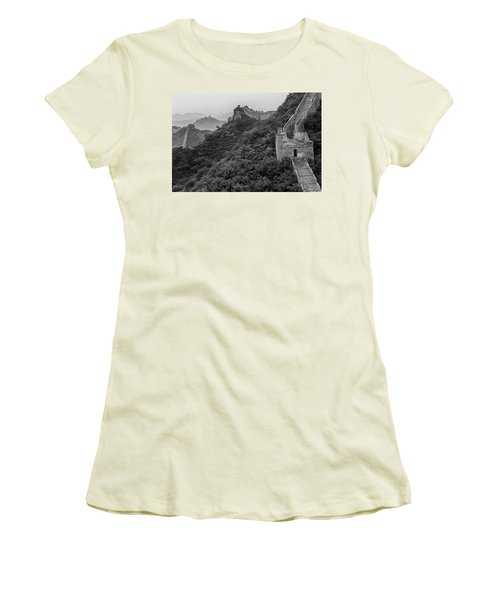 Women's T-Shirt (Athletic Fit) featuring the photograph Great Wall 3, Jinshanling, 2016 by Hitendra SINKAR