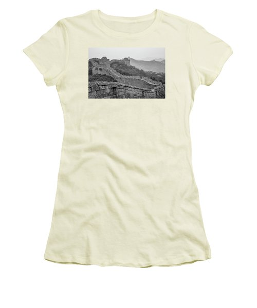 Women's T-Shirt (Junior Cut) featuring the photograph Great Wall 7, Jinshanling, 2016 by Hitendra SINKAR
