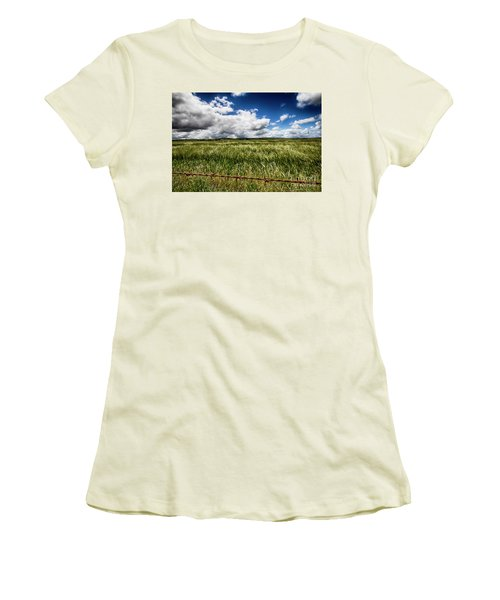 Green Fields Women's T-Shirt (Junior Cut) by Douglas Barnard