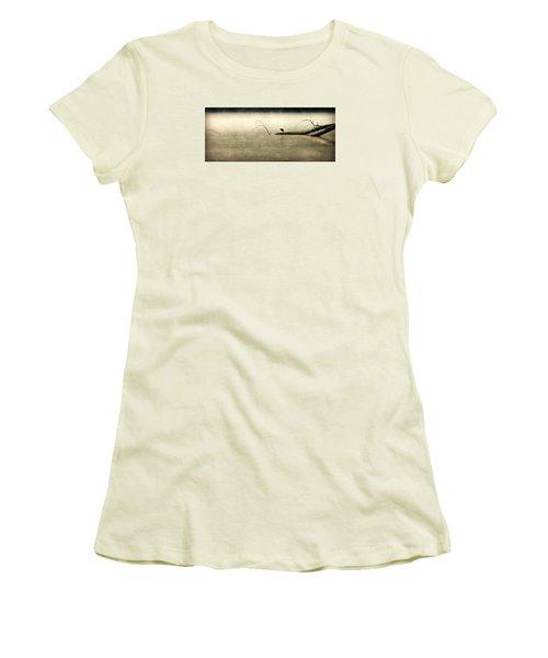 Green Heron In Dawn Mist Women's T-Shirt (Junior Cut) by Kathy Barney