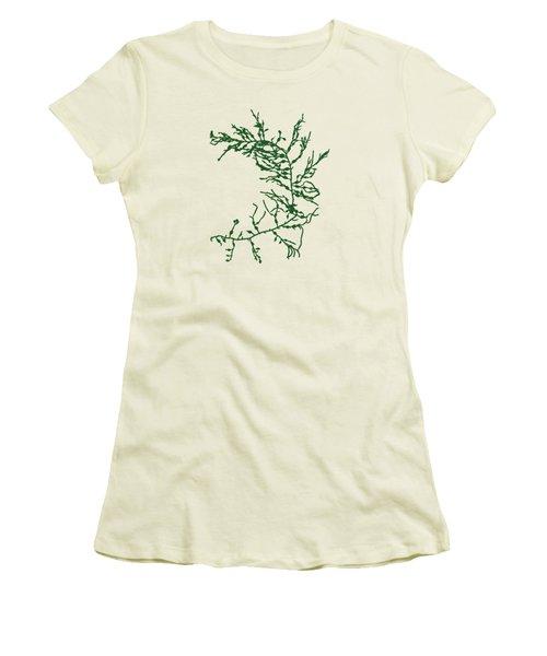 Women's T-Shirt (Junior Cut) featuring the mixed media Green Seaweed Art Cystoseira Fibrosa by Christina Rollo