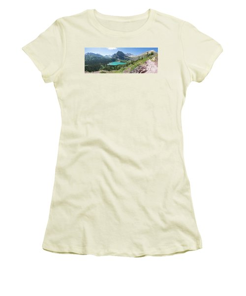 Grinnell Lake Panoramic - Glacier National Park Women's T-Shirt (Athletic Fit)