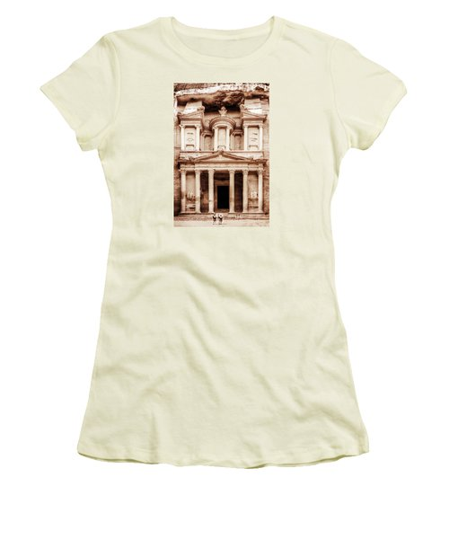 Women's T-Shirt (Junior Cut) featuring the photograph Guarding The Petra Treasury by Nicola Nobile