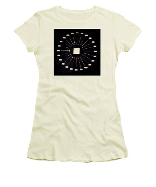 Women's T-Shirt (Junior Cut) featuring the mixed media Harry Potter Wands by Gina Dsgn