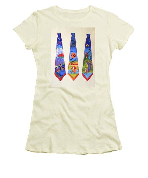 Halloween Ties Women's T-Shirt (Junior Cut) by Tracy Dennison