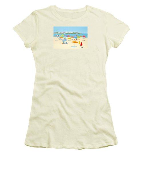 Hampton Beach Umbrellas Women's T-Shirt (Junior Cut) by Jan Matson