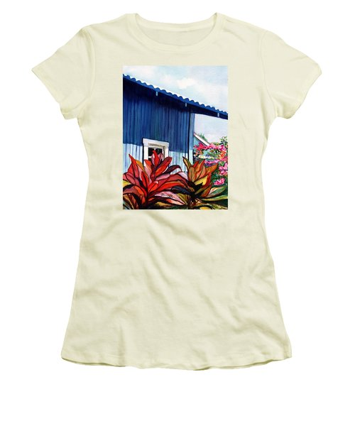 Hanapepe Town Women's T-Shirt (Junior Cut) by Marionette Taboniar