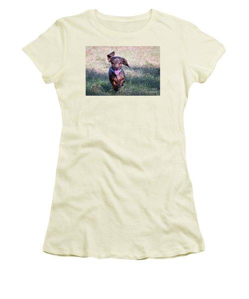 Happy Dachshund Women's T-Shirt (Junior Cut) by Stephanie Hayes