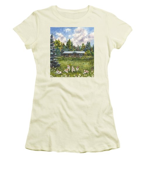 Happy Dogs Women's T-Shirt (Junior Cut) by Anne Gifford