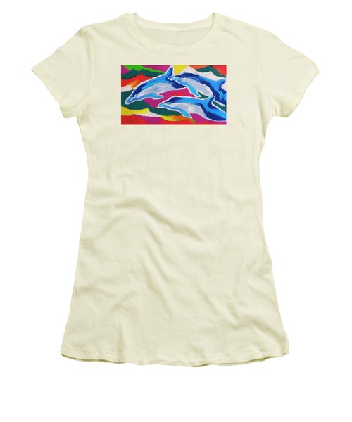 Women's T-Shirt (Junior Cut) featuring the painting Happy Dolphin Dance by Stephen Anderson