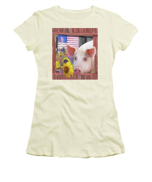 Happy Pig  Women's T-Shirt (Athletic Fit)