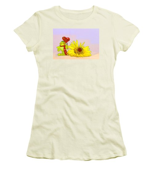 Women's T-Shirt (Junior Cut) featuring the photograph Happy Valentine's Day by Teresa Zieba