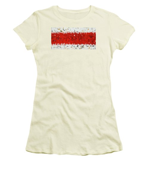 Women's T-Shirt (Junior Cut) featuring the painting Hashtag Red - Abstract Art by Carmen Guedez