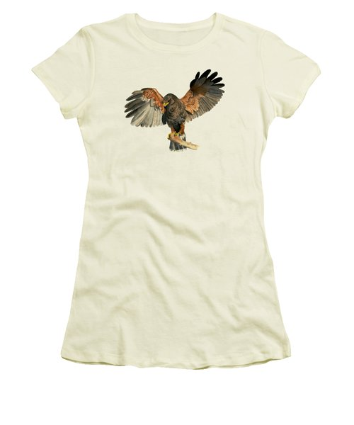 Hawk Flapping Wings Watercolor Painting Women's T-Shirt (Athletic Fit)