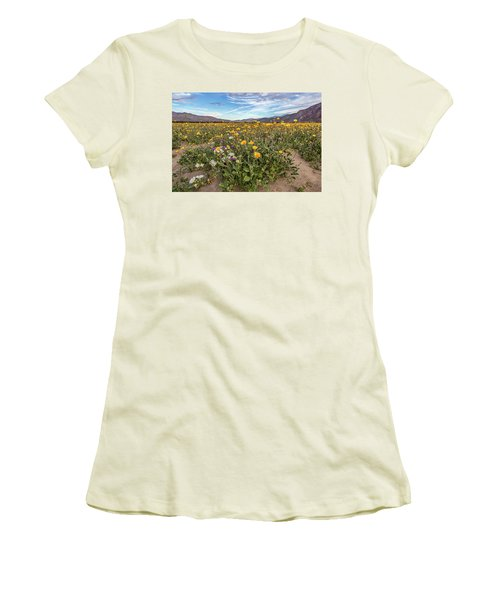 Women's T-Shirt (Junior Cut) featuring the photograph Henderson Canyon Super Bloom by Peter Tellone