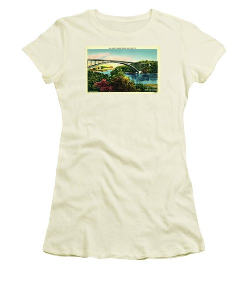 Women's T-Shirt (Junior Cut) featuring the photograph Henry Hudson Bridge Postcard by Cole Thompson