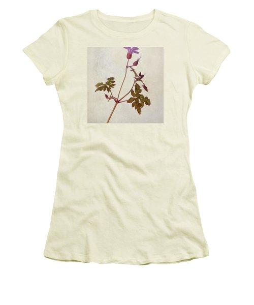 Herb Robert - Wild Geranium  #flower Women's T-Shirt (Junior Cut) by John Edwards