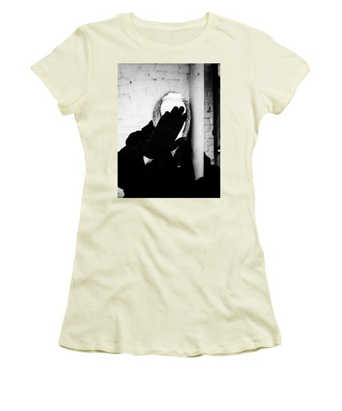 Women's T-Shirt (Athletic Fit) featuring the photograph Hidden Woman In Black Fur by John Williams