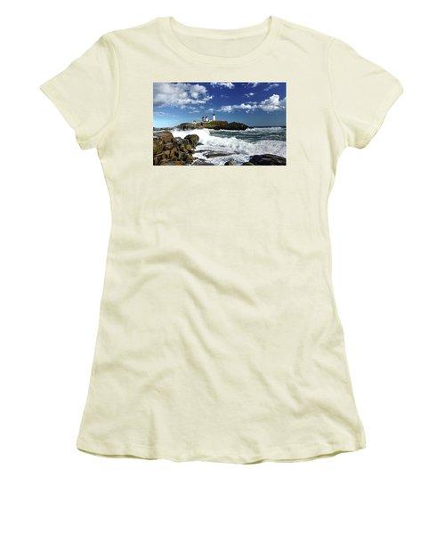 High Surf At Nubble Light Women's T-Shirt (Athletic Fit)