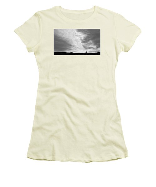 Women's T-Shirt (Junior Cut) featuring the photograph Hikers Under The Clouds by Joe Bonita