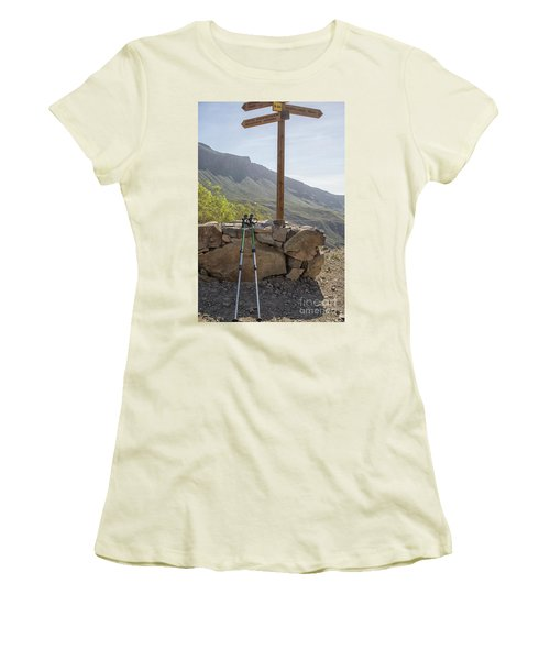 Hiking Poles Resting Near Sign Women's T-Shirt (Junior Cut) by Patricia Hofmeester