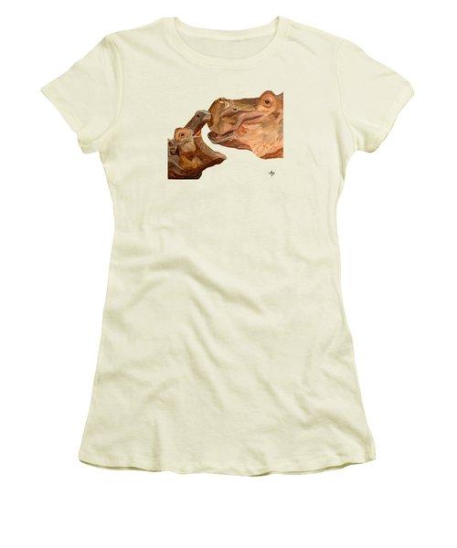 Hippos Women's T-Shirt (Junior Cut) by Angeles M Pomata