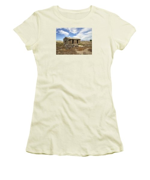 Historic Cabin And Buckboard Wheels In Big Horn County In Wyoming Women's T-Shirt (Athletic Fit)