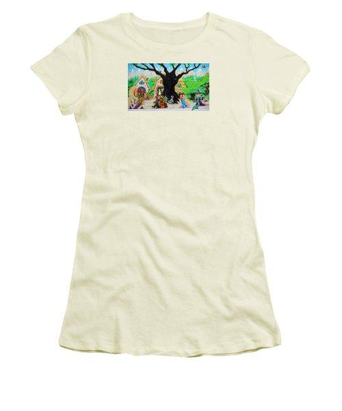 Hobbit Land Women's T-Shirt (Junior Cut) by Matt Konar
