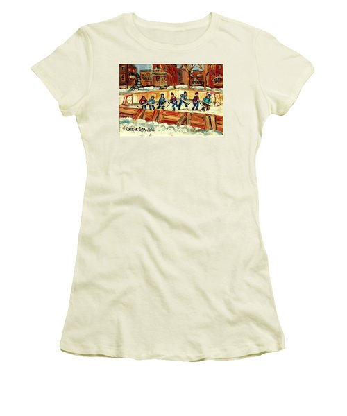 Hockey Rinks In Montreal Women's T-Shirt (Junior Cut) by Carole Spandau