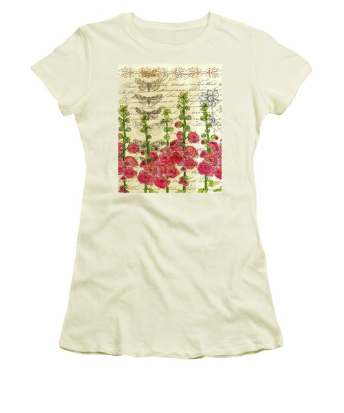 Women's T-Shirt (Junior Cut) featuring the drawing Hollyhocks And Butterflies  by Cathie Richardson