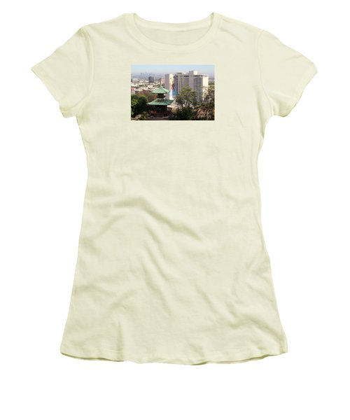Hollywood View From Japanese Gardens Women's T-Shirt (Junior Cut) by Cheryl Del Toro