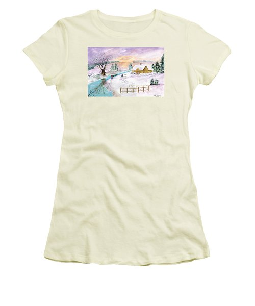Women's T-Shirt (Junior Cut) featuring the painting Home For Christmas by Melly Terpening