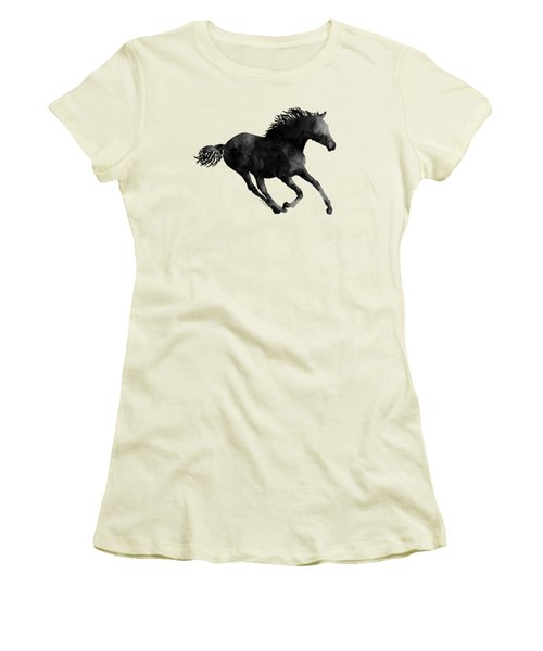 Women's T-Shirt (Junior Cut) featuring the painting Horse Running In Black And White by Hailey E Herrera