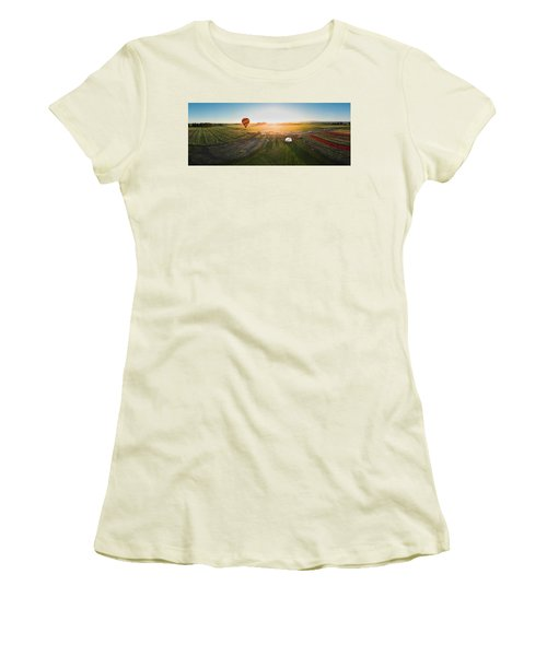 Women's T-Shirt (Athletic Fit) featuring the photograph Hot Air Balloon Taking Off At Sunrise by William Lee