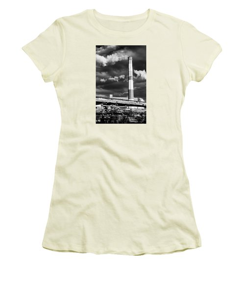 Huge Industrial Chimney And Smoke In Black And White Women's T-Shirt (Athletic Fit)