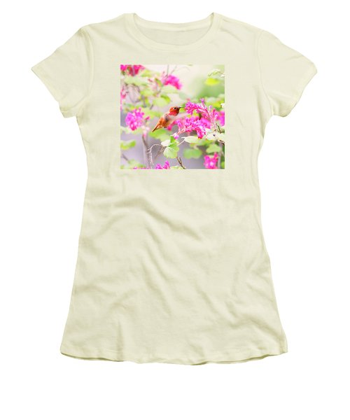 Hummingbird In Spring Women's T-Shirt (Junior Cut) by Peggy Collins