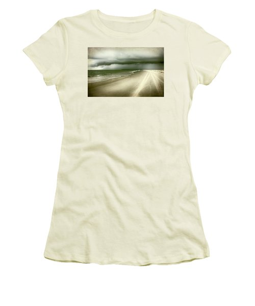 Hurricane Storm Ocracoke Island Outer Banks Women's T-Shirt (Junior Cut) by Dan Carmichael