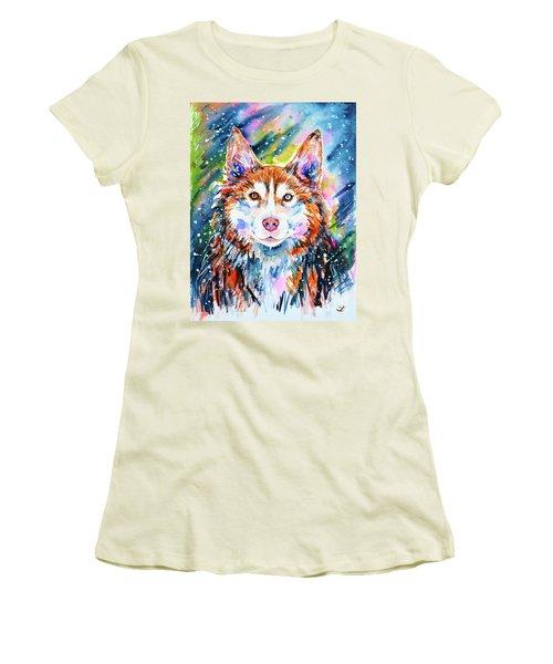 Women's T-Shirt (Athletic Fit) featuring the painting Husky by Zaira Dzhaubaeva