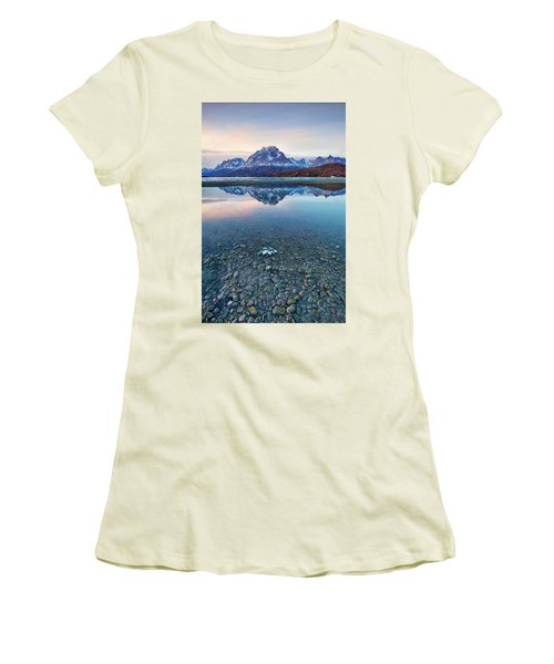 Icebergs And Mountains Of Torres Del Paine National Park Women's T-Shirt (Junior Cut) by Phyllis Peterson