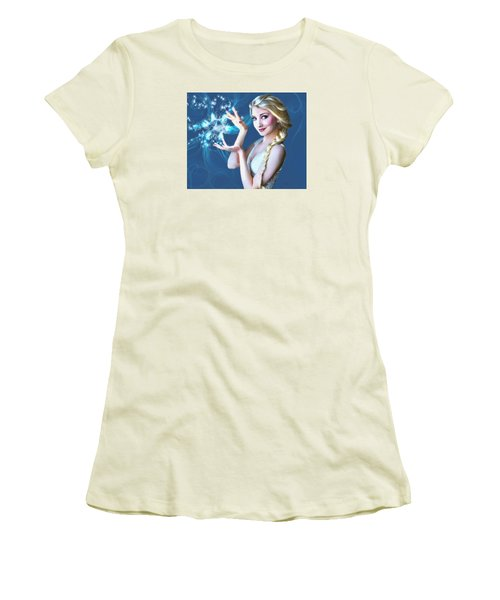 Women's T-Shirt (Junior Cut) featuring the painting Icy Touch by Dave Luebbert