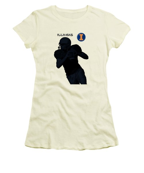 Women's T-Shirt (Junior Cut) featuring the digital art Illinois Football by David Dehner