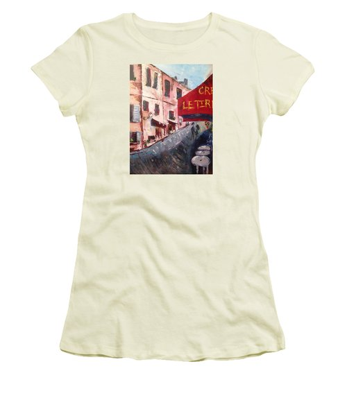 Impressions Of A French Cafe Women's T-Shirt (Junior Cut) by Roxy Rich
