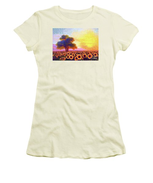 In Awe Of Sunflowers, Sunset Fields Women's T-Shirt (Athletic Fit)
