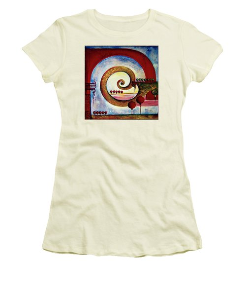 Women's T-Shirt (Junior Cut) featuring the painting In The World Of Balance by Anna Ewa Miarczynska