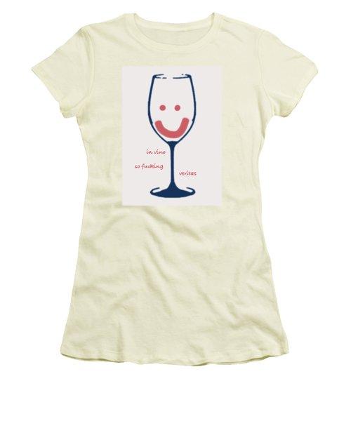 Women's T-Shirt (Junior Cut) featuring the drawing In Vino So Fucking Veritas by Frank Tschakert