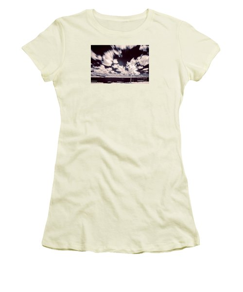 Women's T-Shirt (Junior Cut) featuring the photograph Infrared Lake by Odon Czintos